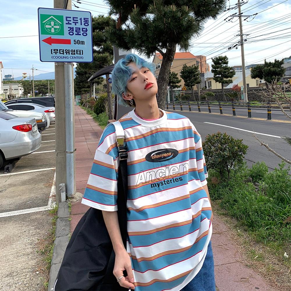Striped Contrast Short Sleeve T-Shirt Men's Trendy Summer Street Hip Hop Loose Retro Couple Tops Personality Cotton Half Sleeve