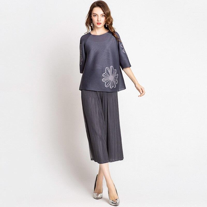 Jambe Large Plus Femelle Femmes Nouvelle Casual 2018 Pantalon Miyake Taille Automne Haute Black Mode La De Conception gray Haut Gamme Originale Plissé TxUHrT