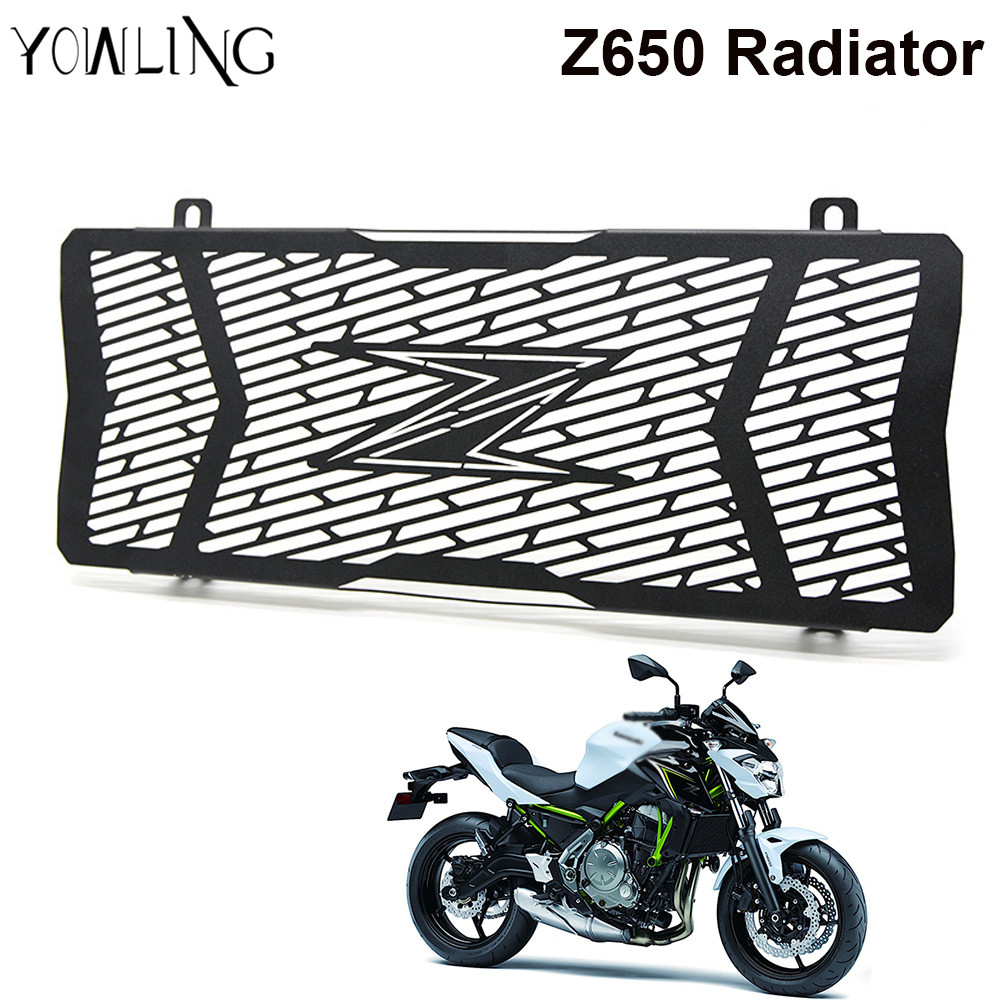 Performance For KAWASAKI Z650 Stainless Steel Motorcycle Radiator Guard Radiator Grille Cover Fits For KAWASAKI Z650 2017 for kawasaki z900 2017 motorcycle radiator guard gloss stainless steel grille bezel radiator net protective cover