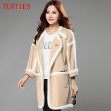 New autumn ladies Sweater coat and long sections loose long-haired Mink Cashmere Cardigan sweaters women Knitted coat thick