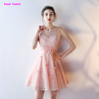 Fashion Pink Short Prom Dress 2017 O Neck Sexy Lace Sleeveless Junior School Prom Gown Special