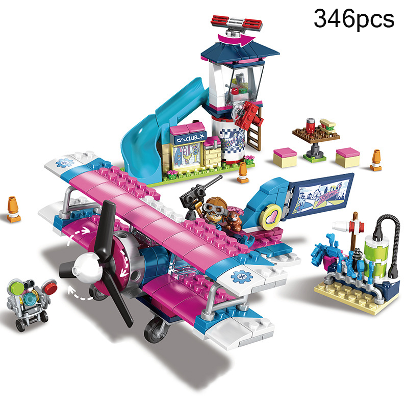 346pcs Heartlake City Airplane Tour Princess Girl Building Blocks Toys Gifts For Children Compatible Legoing Friends DIY Bricks 589pcs diy girl friends the heartlake summer pool compatible with legoing figures building blocks bricks toys for children kid