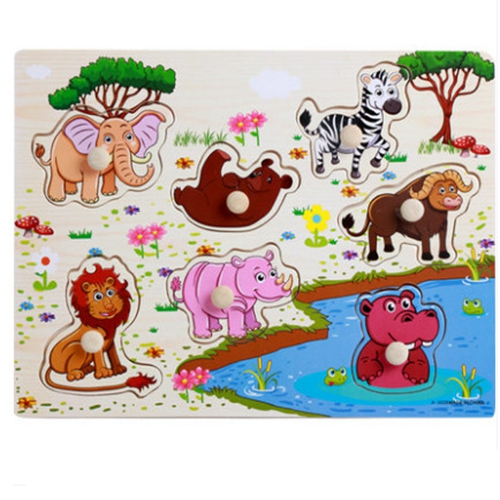 Zoo animals wooden puzzles for kids 2-4 years old 3d puzzle jigsaw board  educational toys for kids learning games