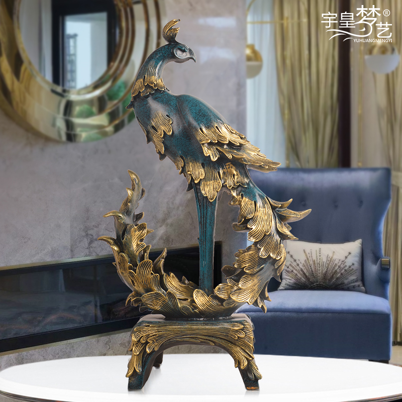 Phoenix Ornament Creative Home TV Cabinet Study Tabletop Decoration Art Work Abstract Art Furnishing Resin Material Pure Manual