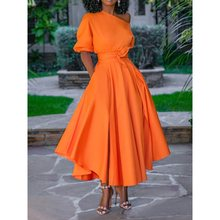2019 Women Summer Casual A Line Pocket Long Dress Elegant One Shoulder High Waist Maxi Dress Sexy Solid Big Swing Dresses Robe plus open shoulder solid swing dress