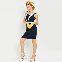 Women Dress Summer Dark Blue Color Lapel Collar Fashion Girls Sexy Dresses Bodycon Sleeveless Backless Patchwork
