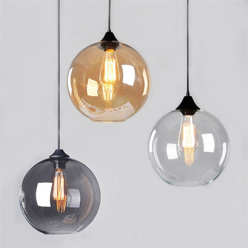 Retro Vintage Industrial Smoke Glass Shade Loft Pendant Light Suspension Light for Living Room Dinning Room Pendant Lamps B097Retro Vintage Industrial Smoke Glass Shade Loft Pendant Light Suspension Light for Living Room Dinning Room Pendant Lamps B097
