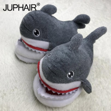 цена на New Anti-skid  Men's Boy's Cartoon Anime Couple Shark Slippers Cute Warm Plush Cotton Winter Home Slipper Tide Super Soft Velvet