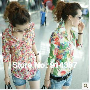 2014 Summer Fashion lady floral 7 minutes of sleeve Printing  Shirt