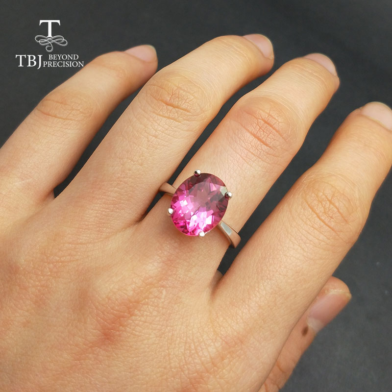 TBJ,Big size 5.5ct pink topaz women ring in 925 silver gemstone jewelry simple and romantic gemstone ring for ladies with box