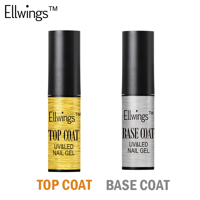 Ellwings Nail Art Установить Верхний Слой + Базовый Слой Soak Off Длительный Ногтей Гель Для Ногтей Гелем к Не-Cleasing Лак