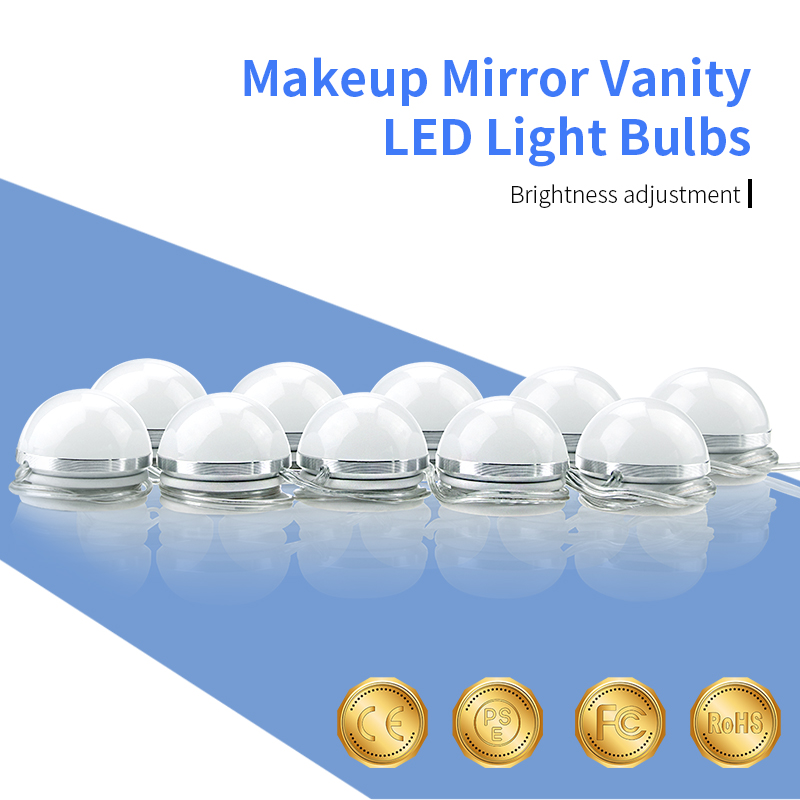 Stepless Dimmable Makeup Mirror Vanity 10 LED Light Bulbs AC85-265V Modern Europe Wall Lamp Decoration Bathroom Mirror Light 16W