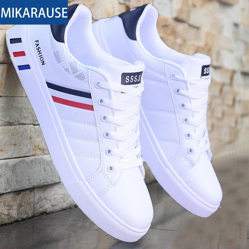 Mikarause/белая Повседневная обувь; мужские кожаные кроссовки; мужские удобные спортивные кроссовки для бега; мужские теннисные мокасины; модная дышащая обувь