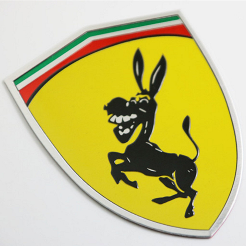 3D Metal Donkey Car Window Bumper Body Sticker Badge Emblem Logo Decal Accessories Fit Italy Flag Color For Ferrari Ford Mustang 3d lsx logo abs car body side rear emblem decal sticker for chevrolet camaro corvette silverado etc