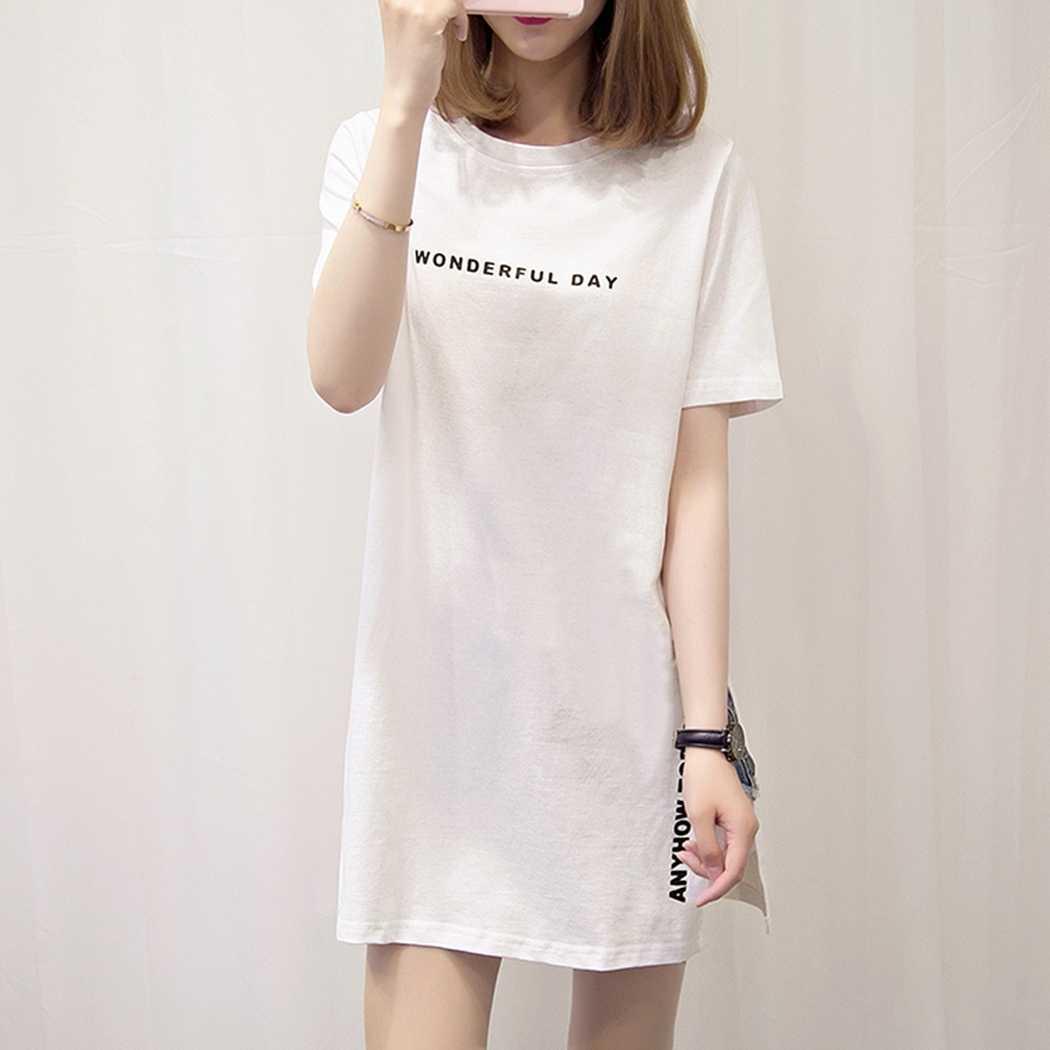 Плюс Размер Повседневная футболка с коротким рукавом топы модная длинная футболка с разрезом сбоку женская летняя повседневная свободная футболка Топ Футболка Femme