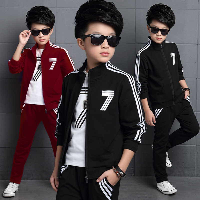 5-15Y Baby boy clothes kids boys clothing sets coat + t-shirt + casual pants 3pcs suit kids clothes boys clothes free shipping