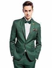 Custom Made Dark Green Groom Tuxedos Slim Fit Mens Wedding Prom Party Suits Groomsman Suit Bridegroom