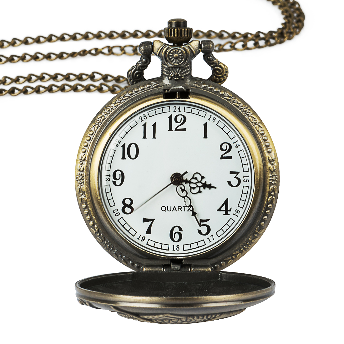 Retro Bronze Vintage Pocket Watch Necklace Chain Pendent Fishing Antique Quartz Pocket FOB Watches Mens Relogio De Bolso Clock