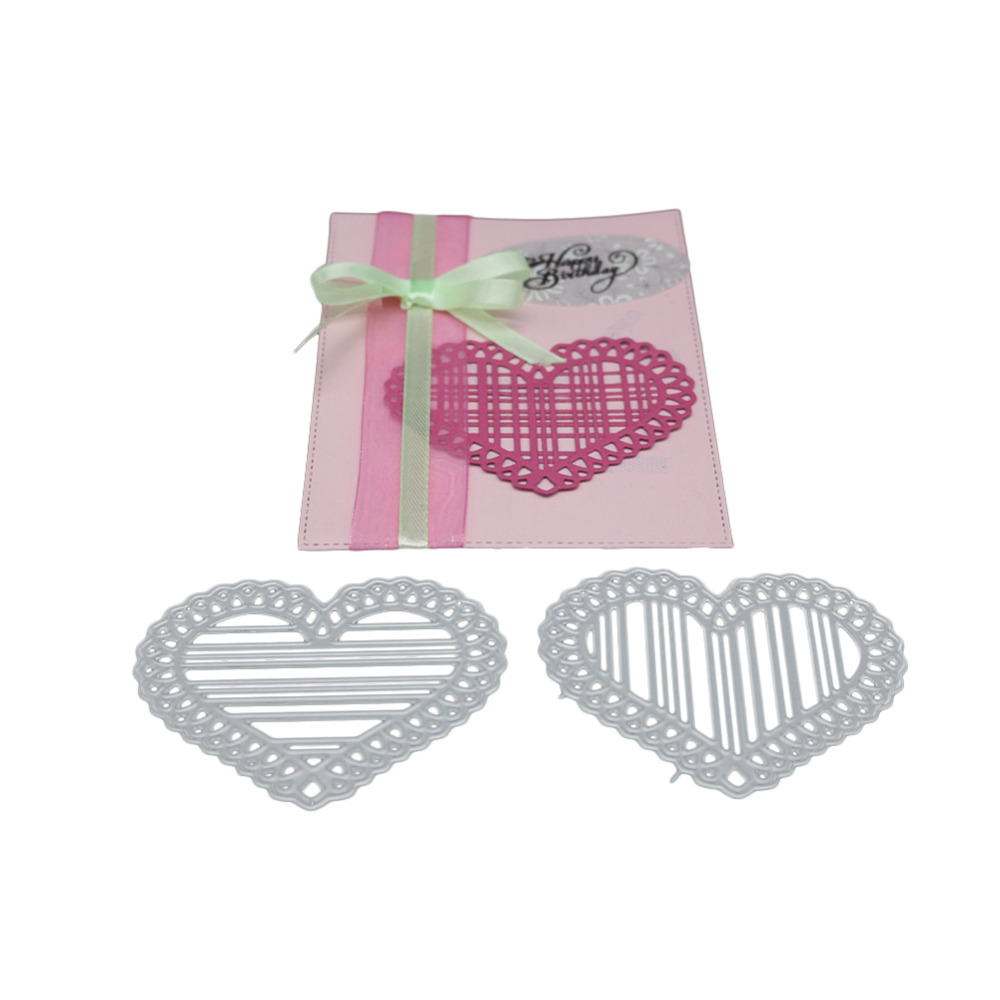 Bi fujian Valentines Day scrapbooking stripe lace love shape Metal steel cutting heart shape Book photo album art card Die cut