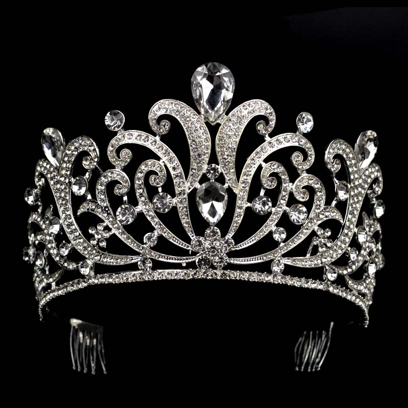 Vintage Silver Crystal tiara Wedding Big Crown For Bride Hair Accessories 2017 New Alloy Rhinestones Queen
