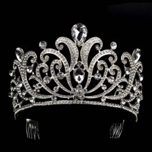 Vintage Silver Crystal tiara Wedding Big Crown For Bride Hair Accessories 2017 New Alloy Rhinestones Queen Crown Hair Jewelry