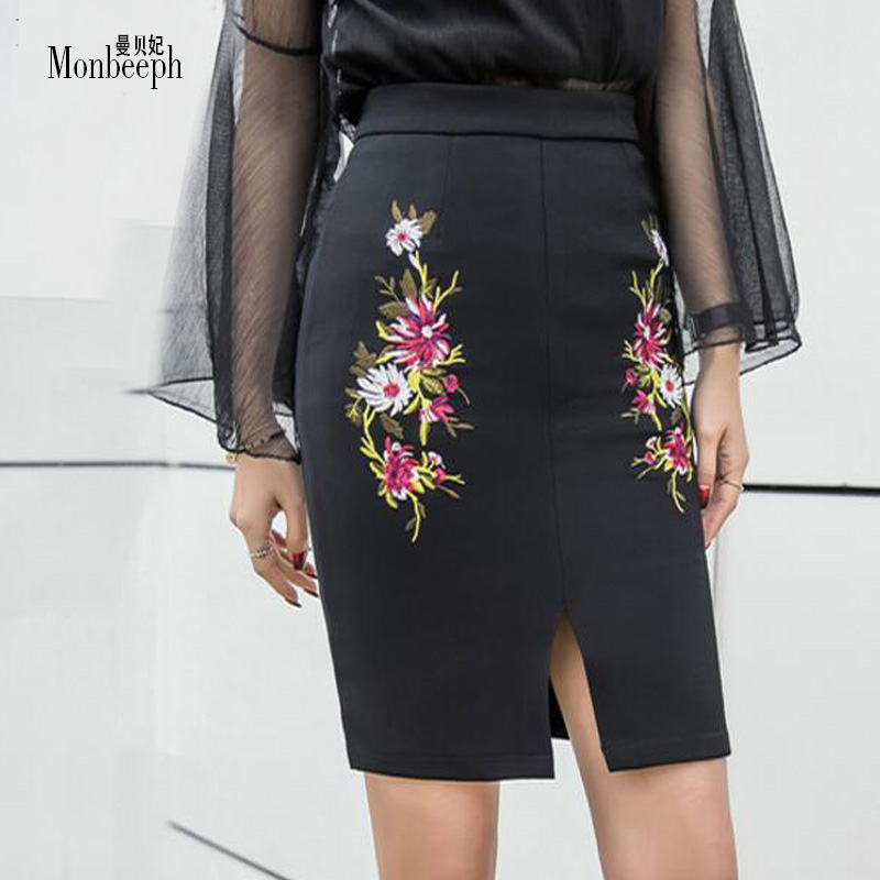 MONBEEPH new Fashion Flowers Embroidery Pencil Skirt Vintage High Waist Slim Short Skirts Women Sexy Bodycon Front Skirt S-3XL