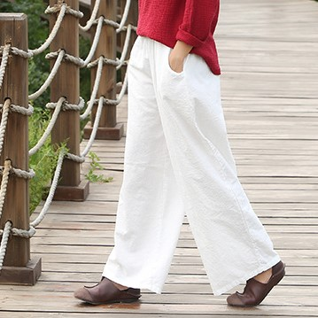 Plus Size White   Wide     Leg     Pants   Cotton Linen Casual Trousers Summer Loose Vintage Slim Elastic Waist Baggy   Pants   X40