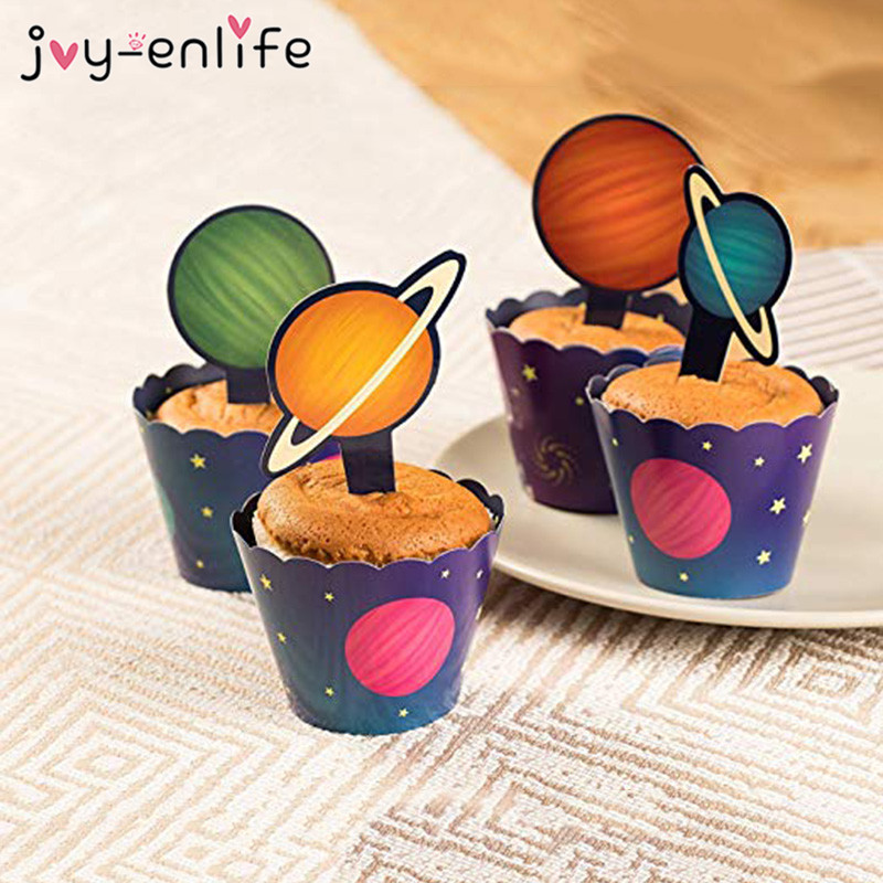 Solar System Outer Space Cupcake Topper Wrapper Happy Birthday Party Spaceship Astronaut Rocket Robot Theme Party Cake Decor