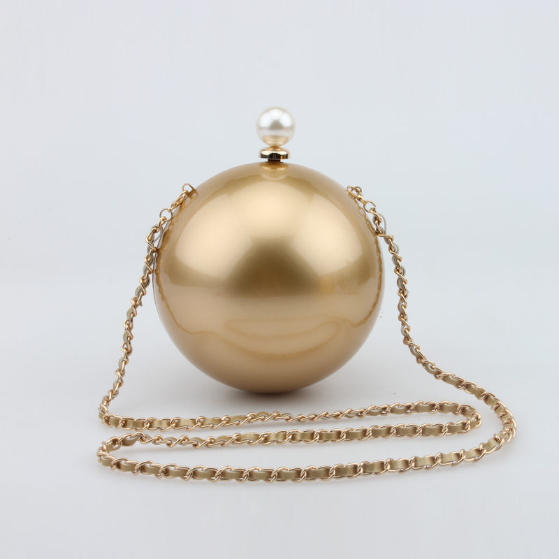 Designer Round Pearl Ball Bag Gold Evening Clutch Purse Handbags Women Flower Chain Party Clutches Pochette Soiree XA1111A