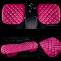 Dewtreetali 3pc Set Winter Velvet Front Car Seat Cover Protector Chair Pad Breathable Cushion Mat For
