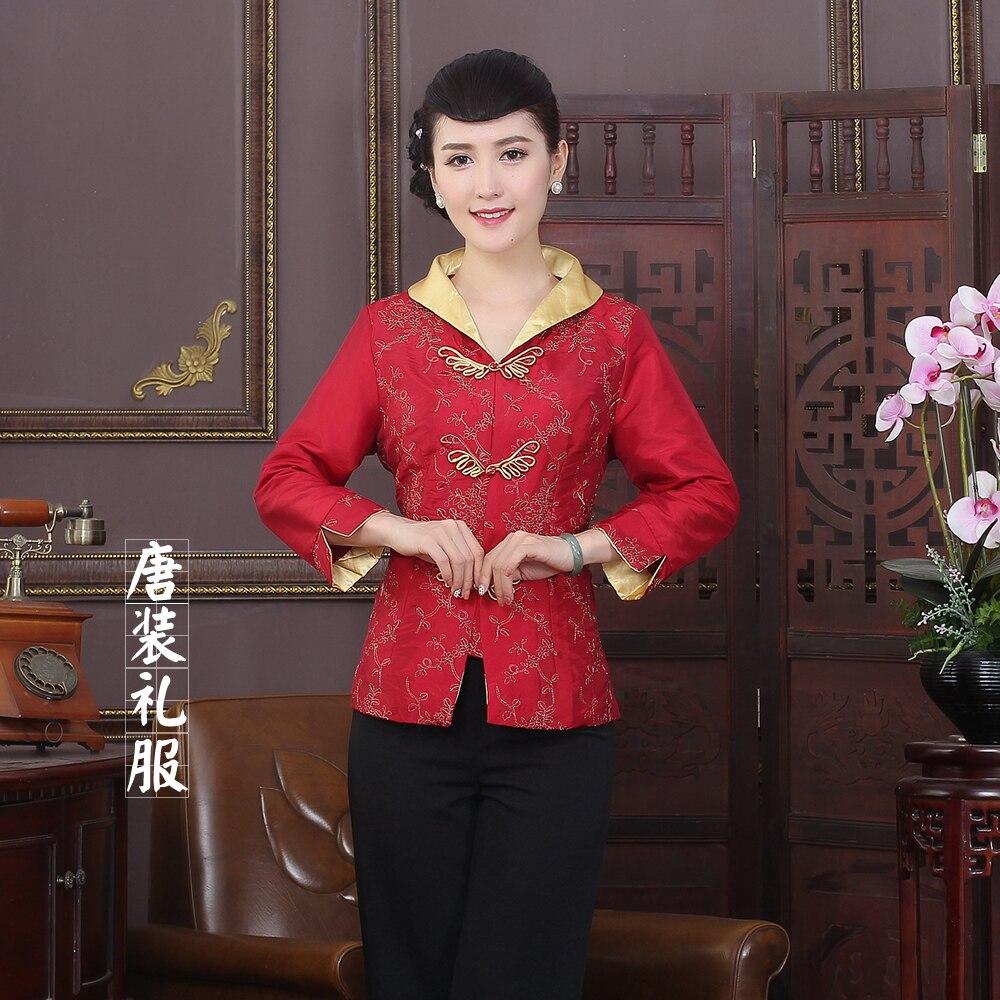 Rojo de alto grado vintage estilo de la tradición china chaquetas delgado elegan