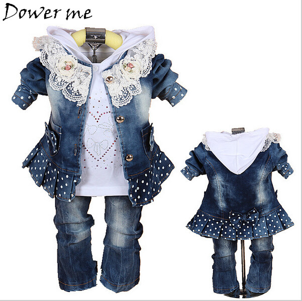 Baby Girls Suits Spring Casual Children Clothing Sets Lace Cowboy Jacket+T-shirt+Denim Pants Kids Suit Infant Baby Girl Clothes valentine s day heart print tapestry wall hanging art