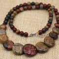 Natural Picasso multicolor stone jasepr 6mm round beads necklace 10-20mm coin pendant high grae women diy jewelry 18inch B3136