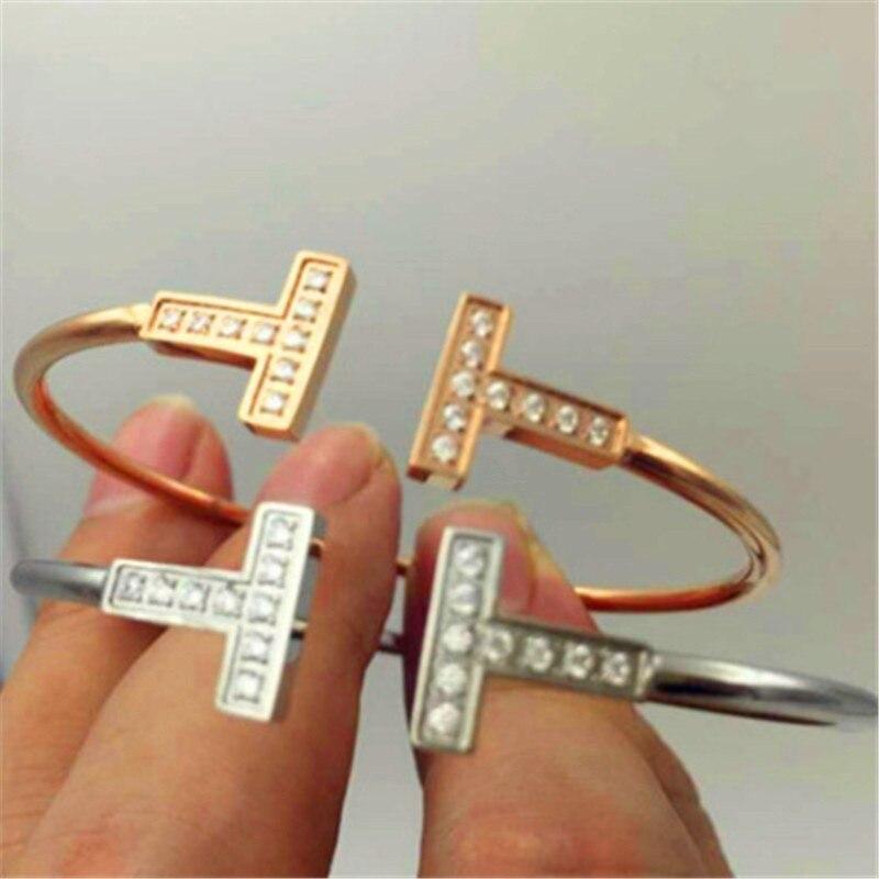 259d8097f501 Marca de lujo joyas de Zirconia pulsera de cristal brazalete fino pulseras  y brazaletes para mujeres pulseras modernas B012