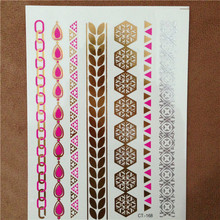 Women Body Art Chain Gold Tattoo Temporary Tattoo Bracelet Colorful Flash Tattoos Metallic Tatoos Jewelry Temporary Tattoos