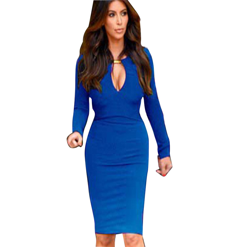 bb6e4932f9511 US $13.11 30% OFF AAMIKAST New Fashion Summer 2018 European Women V neck  Full Sleeve Optical Illusion Slimming Stretch Bodycon Pencil Party Dress-in  ...