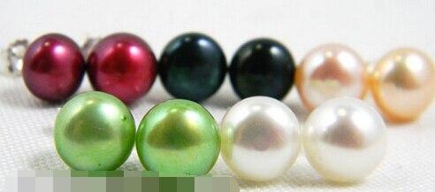 Vente chaude> livraison gratuite 12802 5 paires violet blanc rose vert noir d'eau douce perle boucle d'oreille stud-Mariée bijoux livraison gratuite
