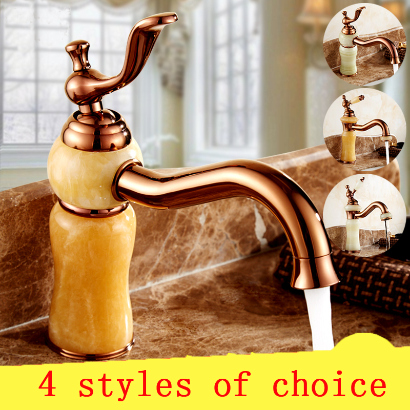 4 Type bathroom jade basin faucet golden, Brass toilet basin faucet cold and hot, Antique European sink faucets water mixer tap 4 style bathroom jade basin faucet golden brass toilet basin faucet cold and hot antique european sink faucets water mixer tap
