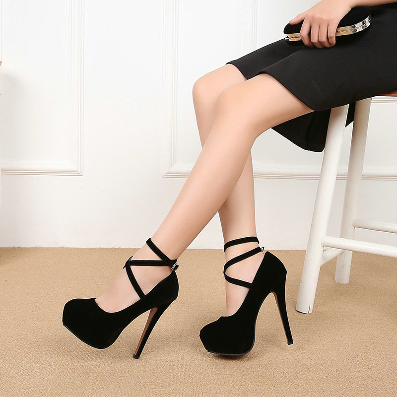 Women Pumps High Heels Thick Soles Cross Strap Platform Catwalk Nightclub Sexy Sandals Steel Pipe Dance Shoes Big Size 46 B11-48