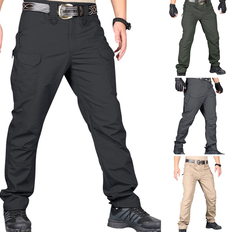 Fashion Men Cargo Pants Multi Pockets Pantalones Hombre Waterproof Military Hiking Tactical Pants Solid Outdoor Trousers Men