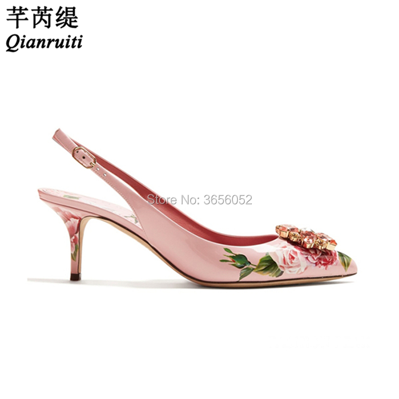 Qianruiti Luxury Brand Ladies Shoes Rose Print Leather Bridal Shoes Sexy  High Heels Slingback Tacones Clear 51fa046146de