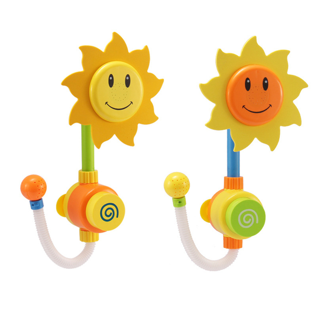 New Born Baby Bath Toys Sunflower Shower Faucet Toy Learning Educational Bathtub Water For