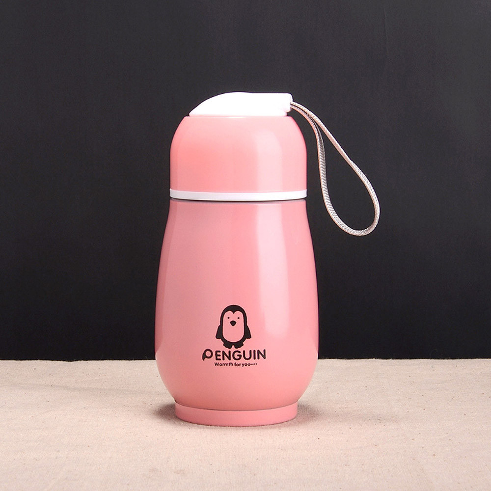 Cute Penguin Water-Bottle Vacuum-Flask Stainless-Steel 300ML Kids Portable Leak-Proof