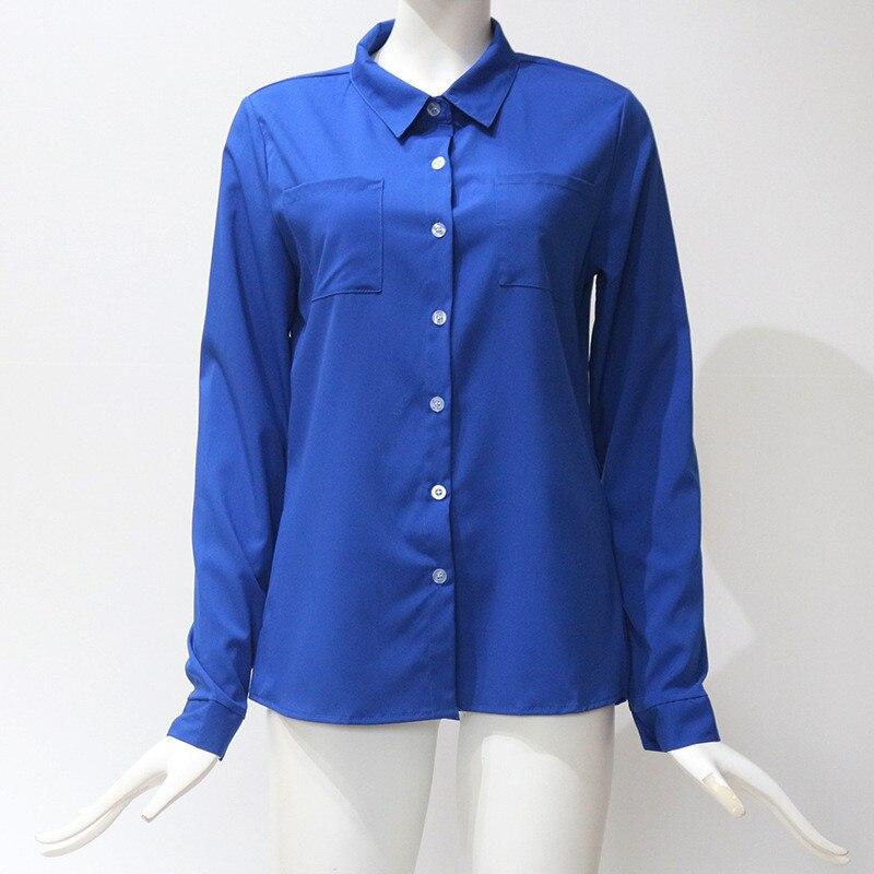 Más rosado blanco Mujeres Tamaño Manga Down Femenino negro Tops Elegantes Completa azul Turn Blusa Camisa Y verde Bolsillos Blue Blusas Botón Sj594f rojo Collar Causal Las Beige navy q4wadpq