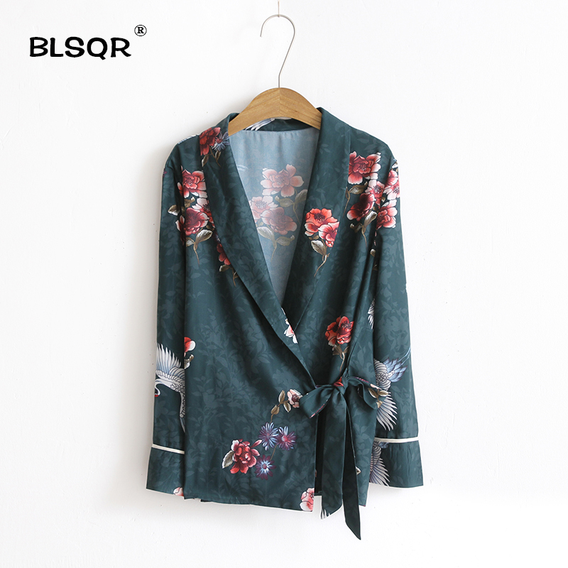 BLSQR 2017 Women Fashion Vintage Loose Turn-down Collar Jacket Animal Floral Print Belt Outwear Coat Tops For Womens Clothes