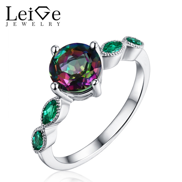 Leige Jewelry Round Cut Rainbow Gemstone Rings Mystic Topaz Ring with Emerald Side Stone 925 Silver for Women Anniversary Gift