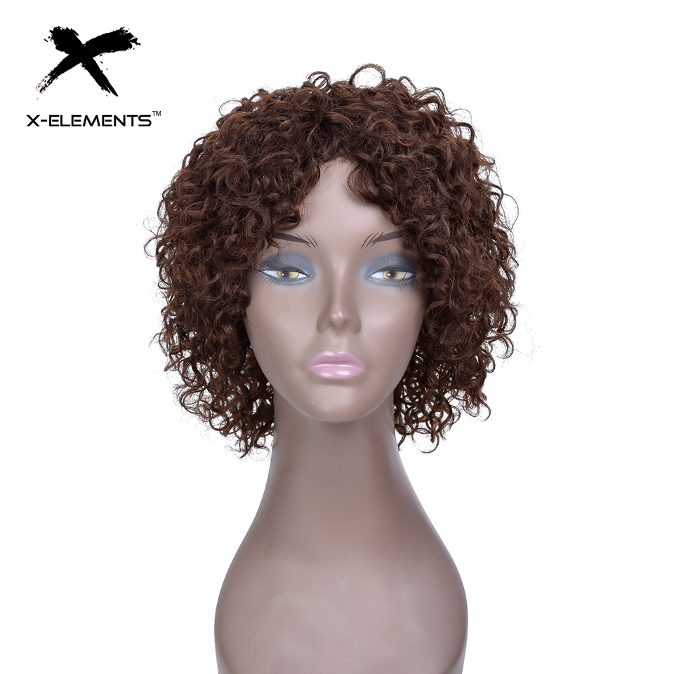 X-Element Brazilian Curly Short Human Hair Wigs with Baby Hair Non-Remy Machine Made Human Hair Wigs For Women H.ORA 6.75 Inches (3)
