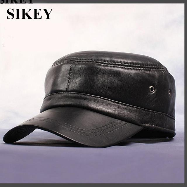 HL071 Genuine Leather Rider Style Cowhide Fashion Army Cap Box Hat Cadet Visor men's hats caps