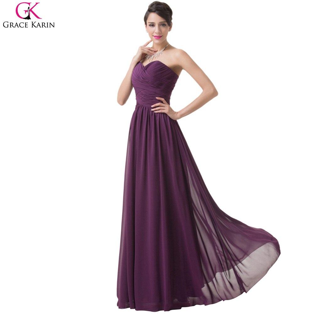 Grace Karin Purple Grape Bridesmaids Dresses Sweetheart Long Chiffon ...