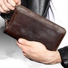 2017 Fashion Men Wallet Real Genuine Leather Business Purse For Male Luxury Coffee Zipper Men Clutches Long Wallet Men Handbags цена